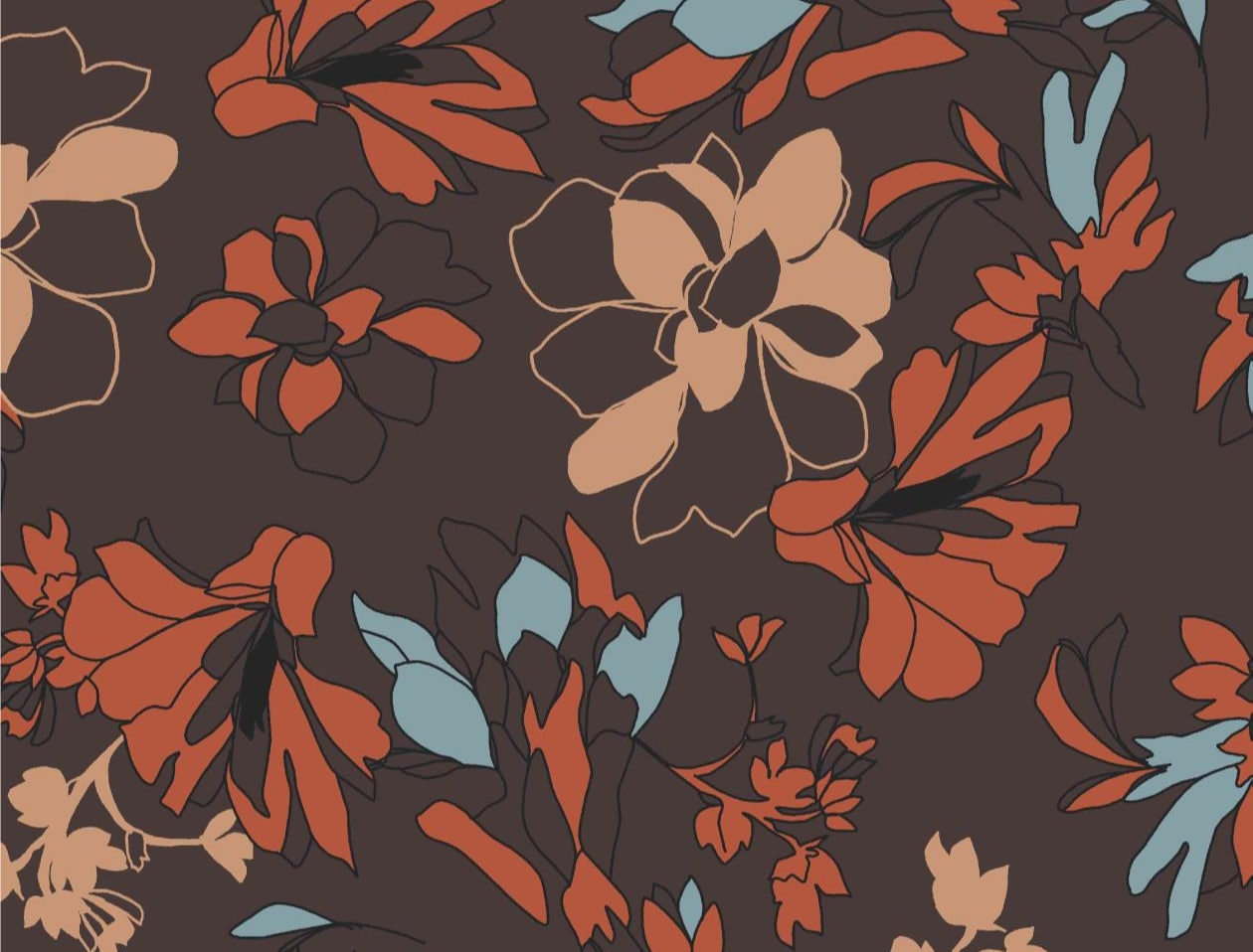 Viscose jersey med blomster - earth