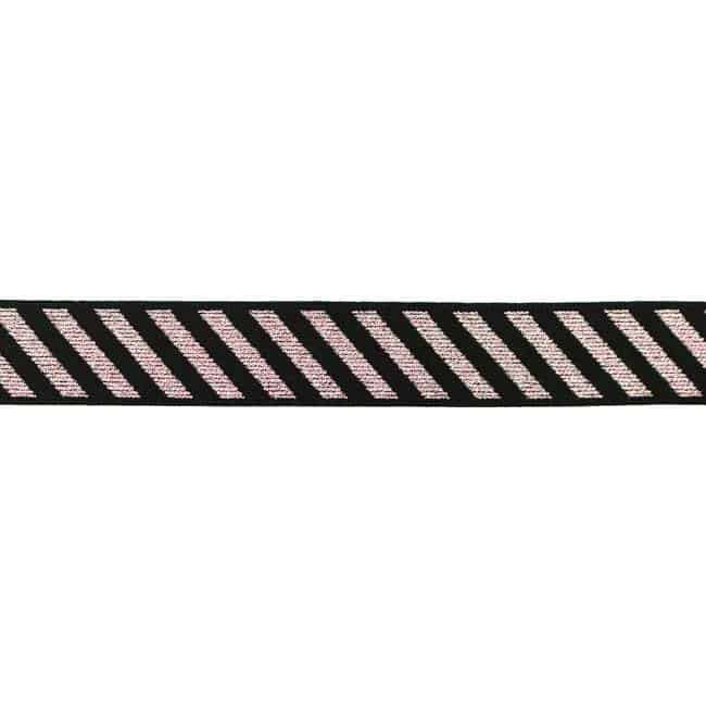 511-Elastik, diagonale striber-25mm-pink