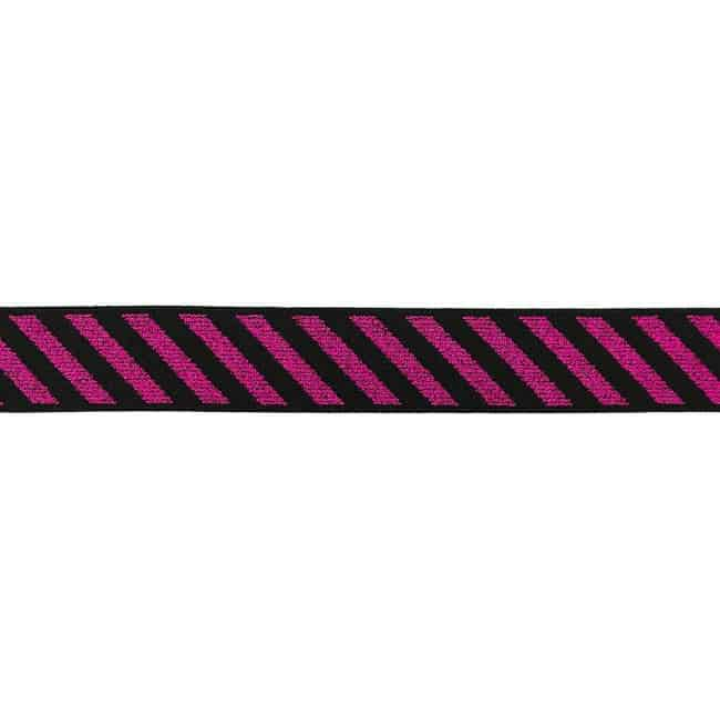 511-Elastik, diagonale striber-25mm-fuchsia
