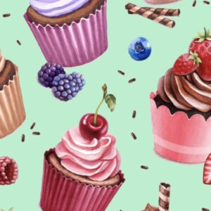 Jersey print med cupcakes - Mint