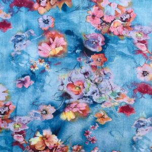 Viscose med blomster (denim)